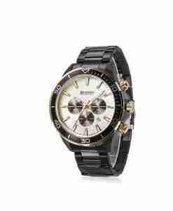 Curren 8309 black steel chain mens chronograph gift watch