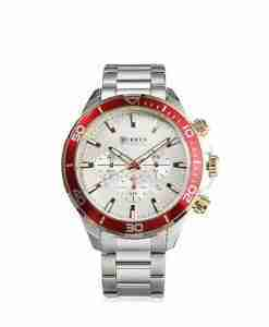Curren 8309 red chronograph dial & silver stainless steel mens gift watch