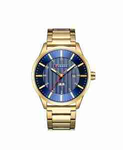 Curren 8316 blue dial & golden stainless steel chain mens gift watch wedding engagement