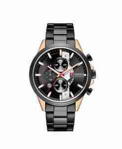 Curren 8325 black see through chronograph dial & black chain mens gift watch