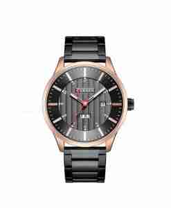 Curren 8316 full black analog wrist watch with date & date