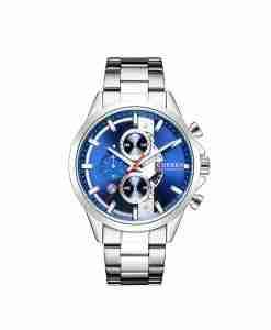 Curren 8325 blue see through dial mens chronograph wrist watch