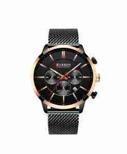 Curren 8340 full black mesh chain unisex chronograph wrist watch