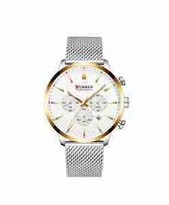 Curren 8340 unisex multi-dial silver chain & golden white dial wrist watch