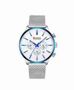 Curren 8340 silver mesh chain & white dial with blue details