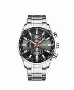 Curren 8351 black chronograph dial & silver steel gents watch