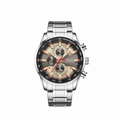 Curren 8351 unique chronograph dial watch with rose gold & grey dial color