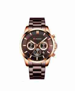 Curren 8358 coffee multi-hand dial mens steel gift watch