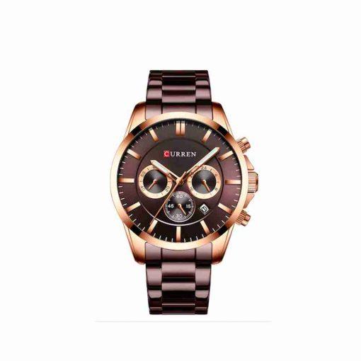 Curren 8358 coffee multi-hand dial mens steel gift watch