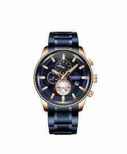 Curren 8362 blue chronograph dial & blue stainless steel chain mens gift watch wedding