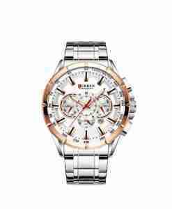 Curren 8363 White Golden Dial Men's Chronograph Gift Watch