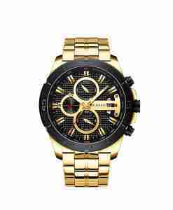 Curren 8337 Golden Stainless Steel Black Dial Mens Gift Watch