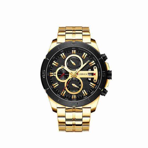 Curren 8337 Golden Stainless Steel Black Dial Mens Gift Watch