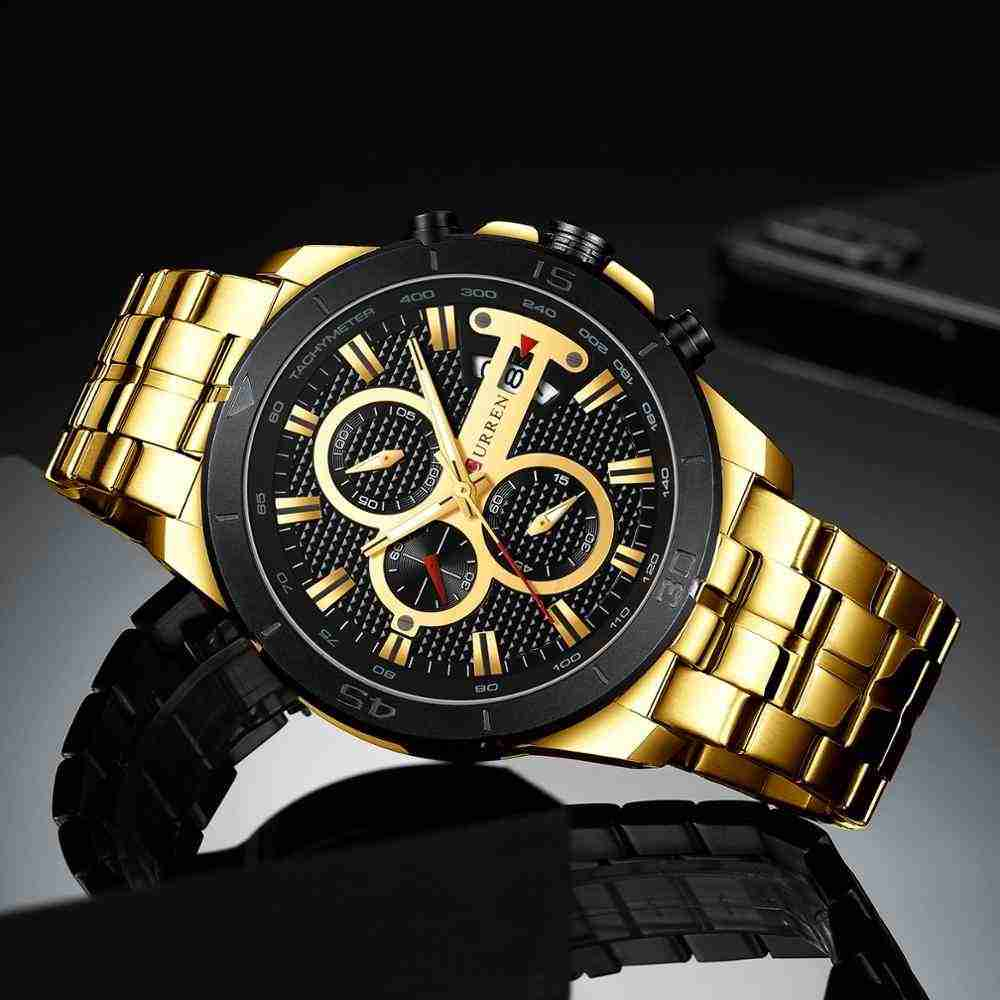 Curren 8337 Golden Stainless Steel Black Dial Gift Watch for Men