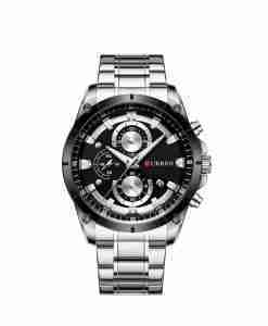 Curren 8360 Black Dial Silver Steel Men's Executive Office Watch