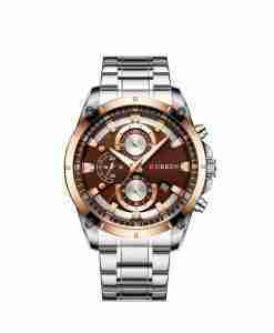 Curren 8360 Brown Dial Men's Stainless Steel Gift Watch