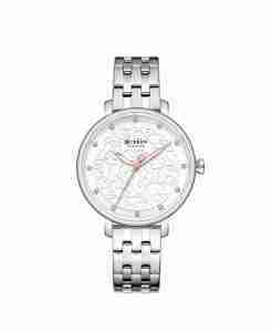 Curren 9046 classy silver stainless steel white dial ladies watch