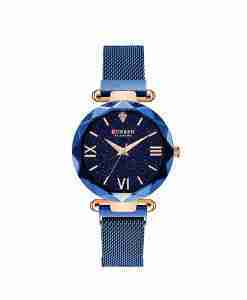 Curren 9063 blue mesh chain magnetic bracelet watch for ladies