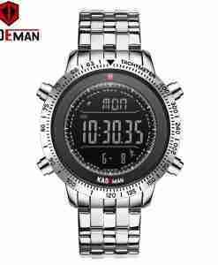 Kademan K849 silver stainless steel digital step counter watch