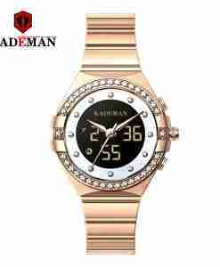 Kademan 9079L rose gold dual analog digital movement ladies wrist watch