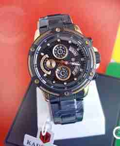 Kademan 9087 full black stainless steel gift watch with black chronograph dial