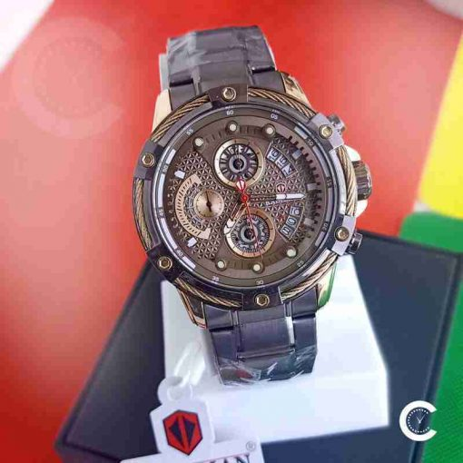 Kademan 9087 brown men's stainless steel chronograph gift watch