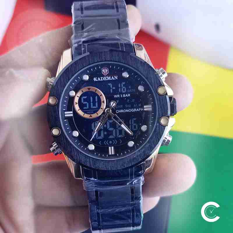Kademan 9089 analog digital dual movement watch in full black stainless steel