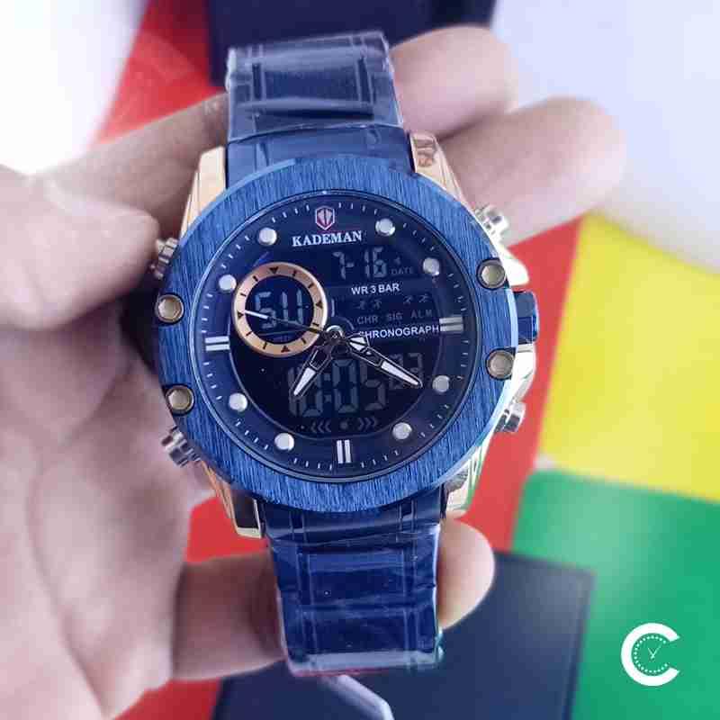 Kadean 9089 blue dial mens digial analog stainless steel wrist watch