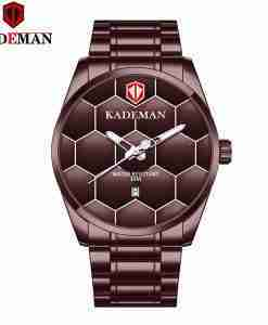 Kademan 9107 full brown stainless steel gents analog wrist watch with football design on the dial