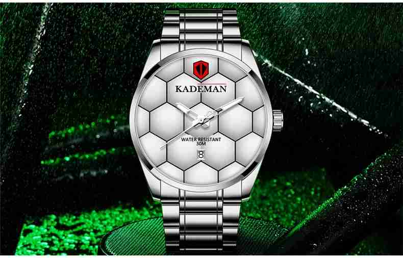 9107 Kademan silver steel watch display on the football stadium