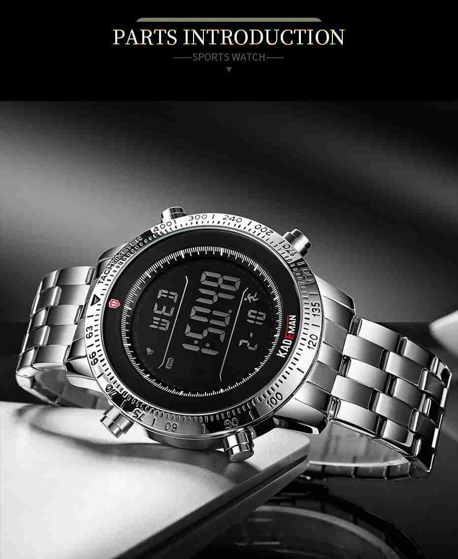Kademan K849 Step Counter Digital Wrist Watch Silver Steel