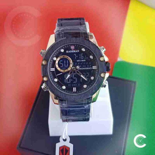 Kademan K9089 full black stainless steel mens wrist watch in black dual movement dial