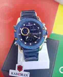 Kademan K9089 blue stainless steel dial dual movement analog digital mens wrist watch