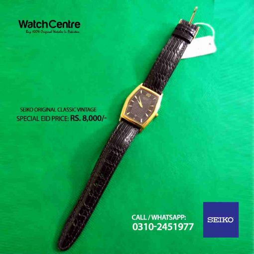 seiko gold plated black leather strap mens dress watch