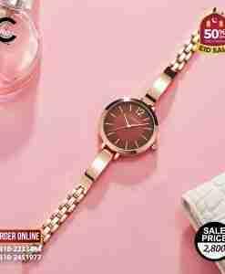 Curren 9012 brown simple dial & gold bracelet strap ladies gift watch
