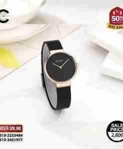 brand new & full black ladies mesh strap simple analog gift watch