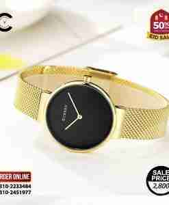Curren 9016 back dial & golden mesh strap simple analog gift fashion watch