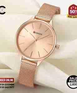 Curren 9024 full rose gold ladies gift watch in mesh strap