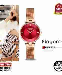Curren 9031 red attractive dial & rose gold mesh strap ladies gift watch