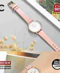 Curren 9039 Pink Leather White Dial Ladies Fashion Watch
