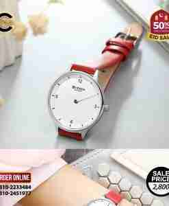 Curren 9039 red leather strap & simple white dial ladies analog watch