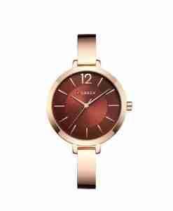 curren 9012 golden maroon dial ladies wrist watch