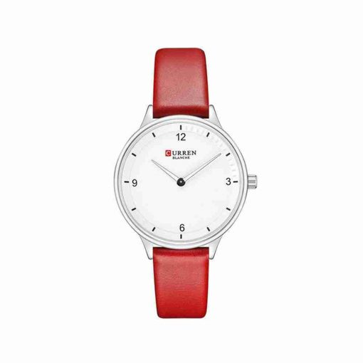 curren 9039 red leather white dial