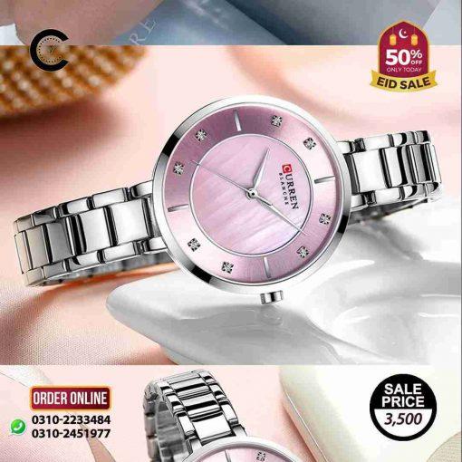 ladies pink dial silver steel chain curren 9051 wrist watch