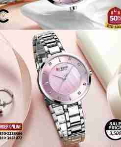 Curren 9051 pink dial ladies stainless steel gift watch