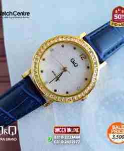 q&q by citizen japan QB45J101Y model ladies blue leather simple dial ladies gift watch