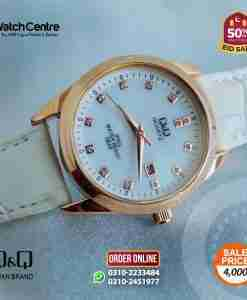 q&q by citizen japan QZ13J111Y model white leather ladies elegant gift watch