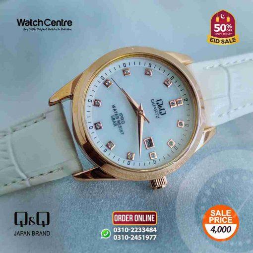 q&q by citizen japan QZ13J111Y model white leather ladies elegant gift watch