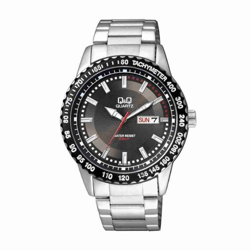 Q&Q A194-202Y black illuminator dial silver stainless steel chain men's dress watch