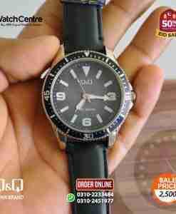 q&q by citizen japan QB64J325Y model men's black leather dress watch